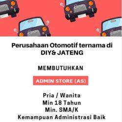 Lowongan Kerja Admin Store Perusahaan Otomotif di Yogyakarta