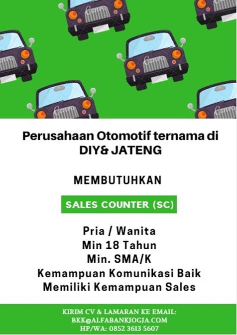 Lowongan Kerja Sales Counter Perusahaan Otomotif di Yogyakarta