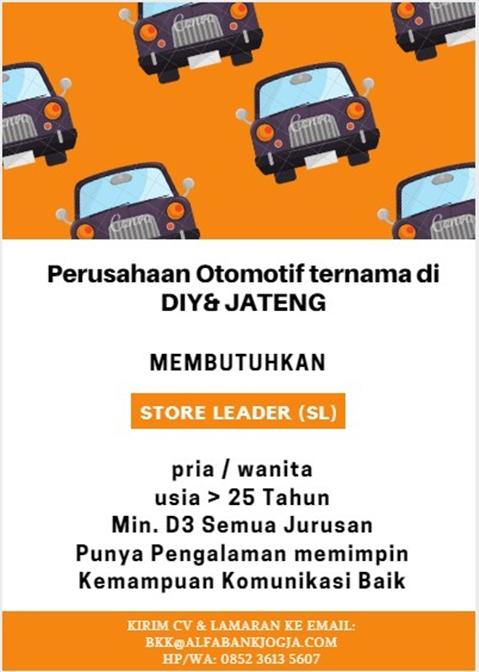 Lowongan Kerja Store Leader Perusahaan Otomotif di Yogyakarta