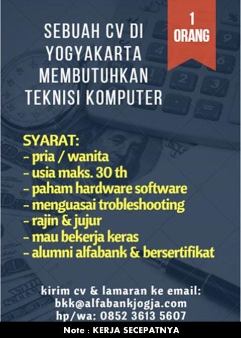Lowongan Kerja Teknisi Komputer Perusahaan di Yogyakarta BKK Alfabank