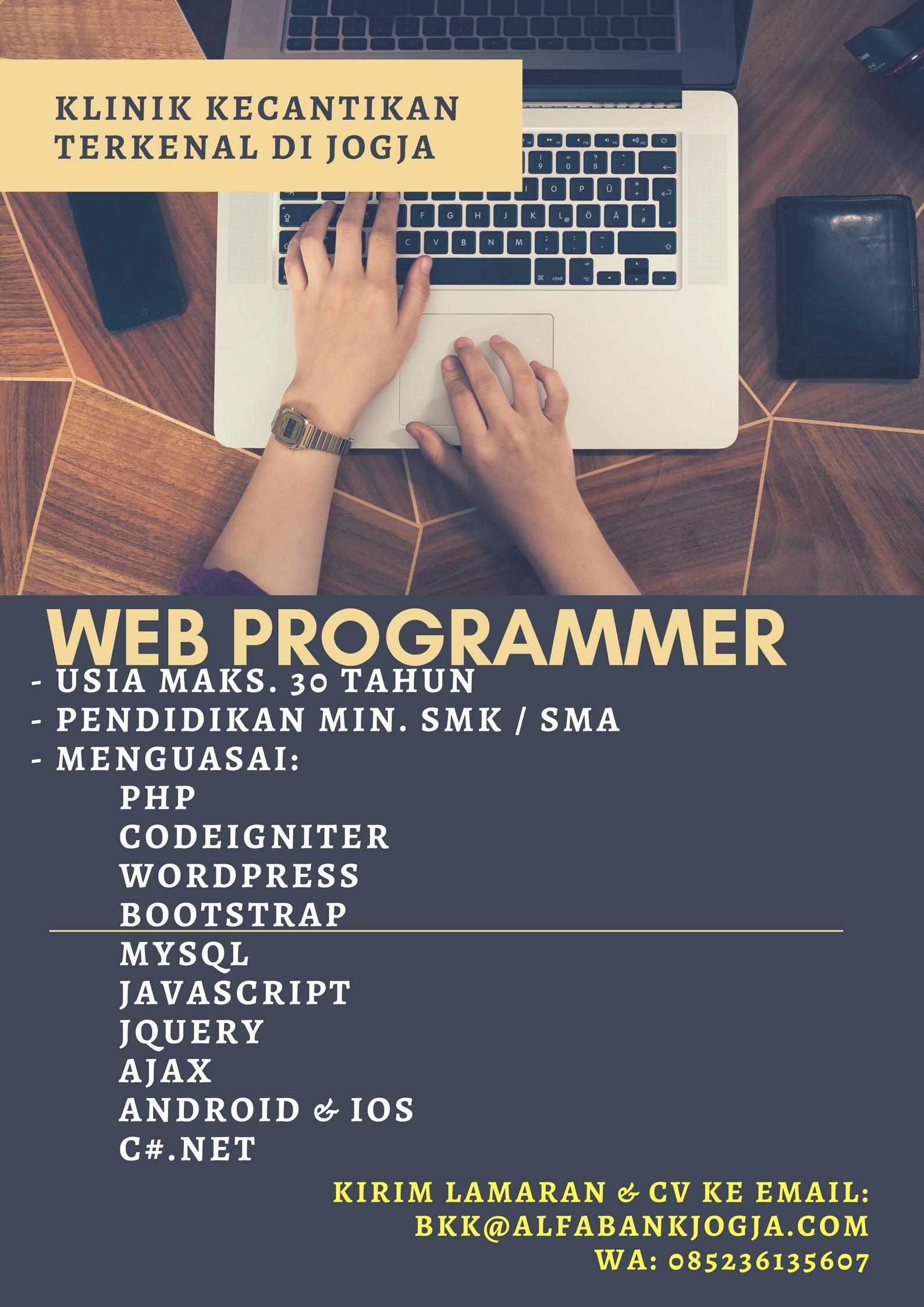 Lowongan Kerja Web Programmer Klinik Kecantikan Terkenal di Yogyakarta