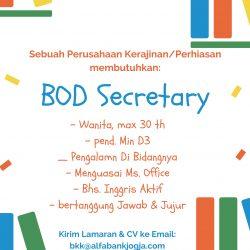 Lowongan Kerja BOD Secretary Perusahaan Kerajinan di Yogyakarta