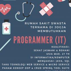 Lowongan Kerja Programmer IT Rumah Sakit Swasta Ternama di Yogyakarta